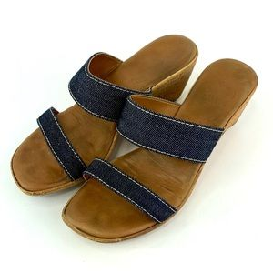 Italian Shoemaker Sandals Denim Look 8 1/2 Slip On
